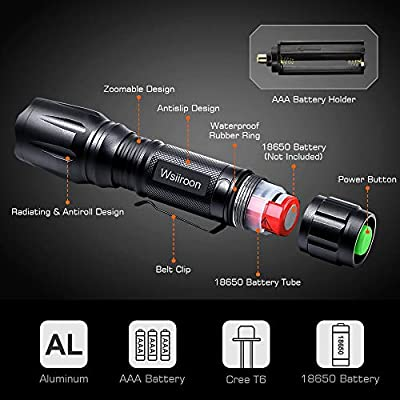 Wsiiroon LED Flashlight, Best Pocket Flashlight Super Bright with 5 Modes, Waterproof, Zoomable, Portable with Clip for Working Camping Emergency-2 Pack (Batteries Not Included)