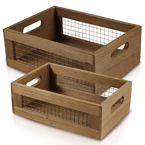 Set of 2 Nesting Countertop Baskets - Wooden Organizer Crates for Kitchen, Bathroom, Pantry | For Fruit, Vegetables, Produce, Bread and General Storage Space | Decorative Rustic Wood and Metal Wire ()