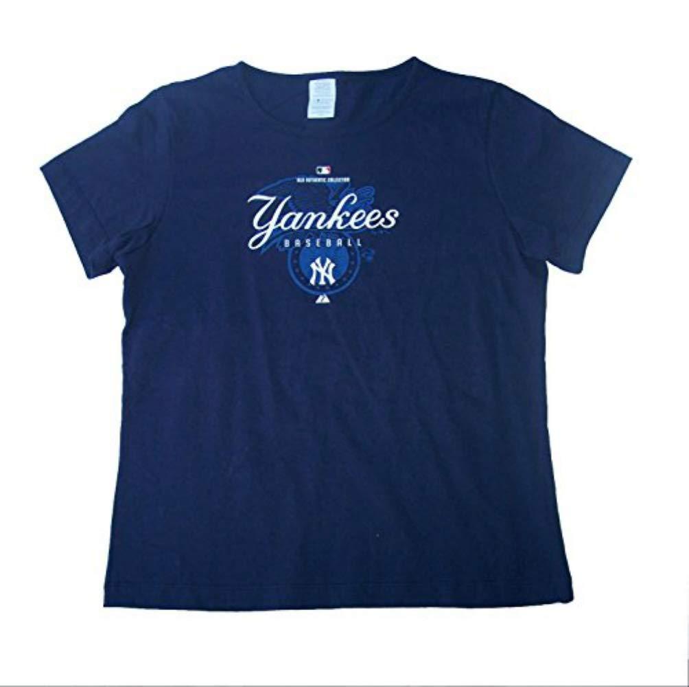 Amazon.com   Genuine Merchandise New York Yankees Baseball Women s Large  Cap Sleeve Shirt - Navy Blue   Sports   Outdoors 9fb53a1b10