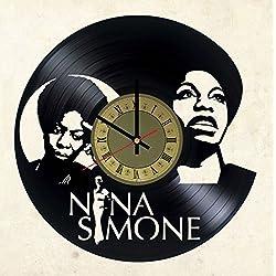 Nina Simone vinyl wall clock - handmade artwork home bedroom living kids room nursery wall decor great gifts idea for birthday, wedding, anniversary - customize your (Gold/Black)