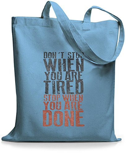 StyloBags Jutebeutel / Tasche Dont Stop when you are tired Sky gRfZ8
