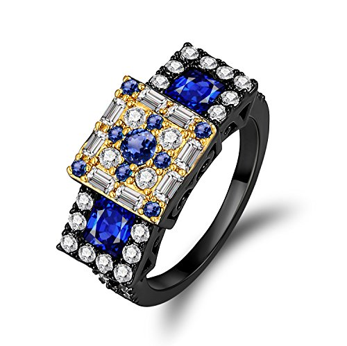 Caperci Black Plated Sterling Silver Created Blue Sapphire Multi-Stone Ring for Women Size 9