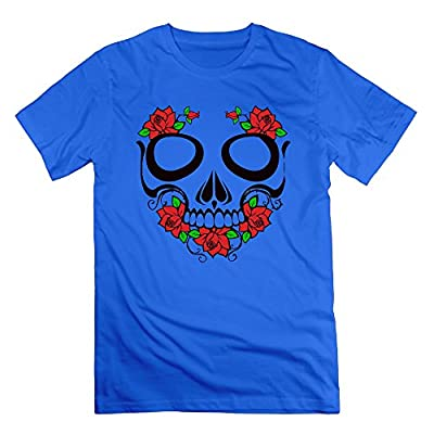 HOHOE Men's Make Your Own Tee Skull And Roses RoyalBlue