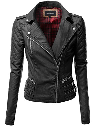 Awesome21 Qulited Sleeve Classic Rider Style Faux Leather Jackets Black Size S