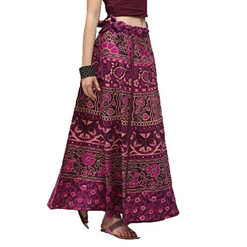 Lcoco&Dream Women's Bohemian Vintage Print A Line Long Maxi Skirt Hippie Boho Dresses Drawstring Waist (Hippie Vintage Wrap)
