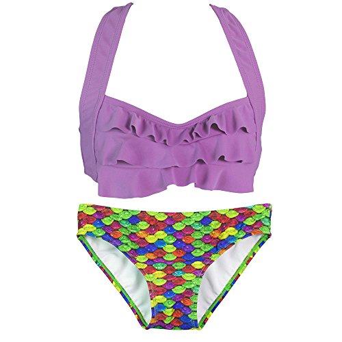 Fin Fun Mermaid Girls Sea Wave Bikini Set, Purple Top, Rainbow Reef Bottom, Large