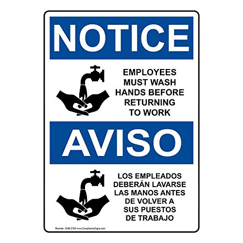 ComplianceSigns Plastic OSHA NOTICE Sign, 10 x 7 in. with Employee Wash Hands Info in English + Spanish, -
