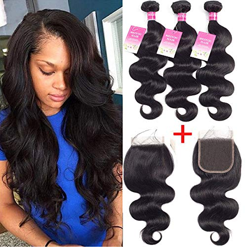 Mei You Brazilian Body Wave Bundles With Closure 8A Virgin Remy Body Wave Human Hair Weave Bundles With Lace Closure Free Part (18 20 22+16)