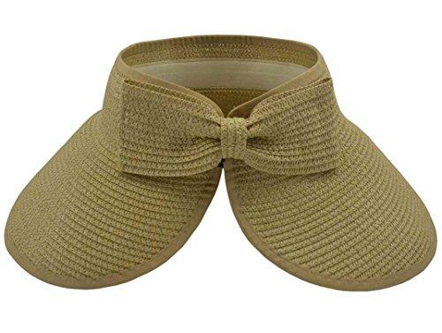 SYAYA Womens Summer Foldable Straw Sun Visor Wide Brim Hat Packable Women Brach Cap M01 ()