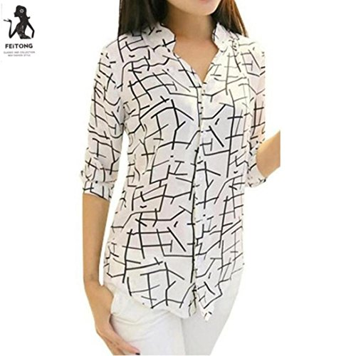 Franterd Fashion Women's Elegant Print Chiffon Long-sleeve Slim Blouses - 5 Dollars Fashion