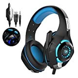 Gaming Headset for PS4 PSP Xbox one Tablet iPhone Ipad Samsung Smartphone, Redhoney Led Light RD-1 Headphone with Adapter Cable for PC (Black+Blue)