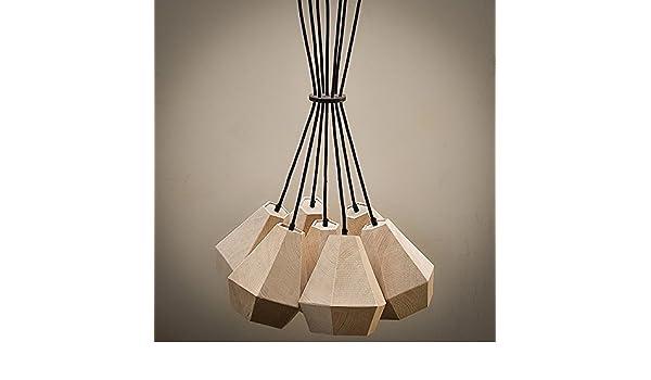 Araña de Madera Vieja/ - Lámpara de techo de madera: Amazon.es: Iluminación