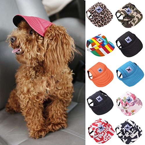 Cotton Dog Visor - Hotsale! Wensltd Cute Small Pet Summer Canvas Cap Dog Baseball Visor Hat Puppy Outdoor Cap (XL Size) (E)