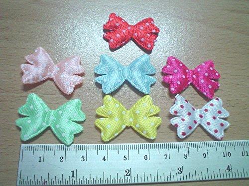 100 Pcs - mix color satin polkadot bow Padded Applique craft - Mix Color - Size 30 MM
