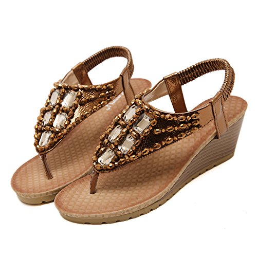 Thong Women's Coffee High Beauty Beaded Rhinestone D2C Sandals Gladiator Heel 46nX5qwwF7