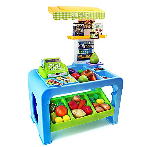 SZJJX Kids Toy Checkout Counter Workshop Deluxe Simulation Kits Box Case Role Play Set Pretend Play Toys Plastic Portable Playset with Handy Storage Bag/Working Desk