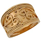 10k Yellow Gold Wide Band Etruscan Rope Edge Design Fancy Ladies Ring