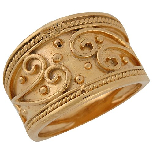 10k Yellow Gold Wide Band Etruscan Rope Edge Design Fancy Ladies Ring (Yellow Ring Etruscan)