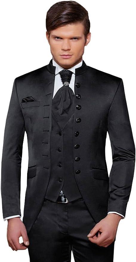 Herren Anzug 8 teilig Schwarz Cut Nadelstreifen Designer Hochzeitsanzug PC_01