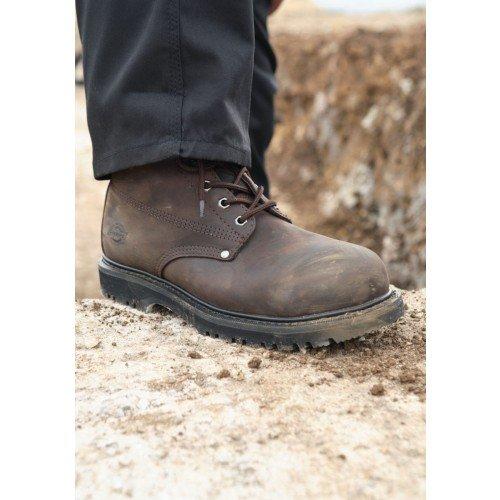 Janitorial Express fa23200-br-10Dickies Cleveland botas de seguridad Super, piel, tamaño 10, color marrón oscuro/grasa