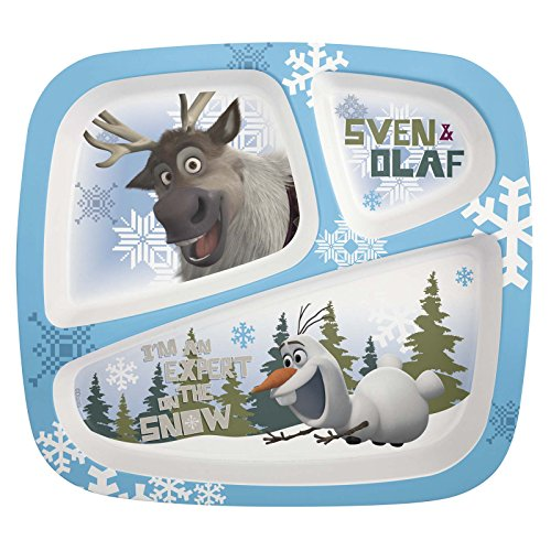 Zak! Designs 3-Section Plate with Olaf & Sven from Frozen, -