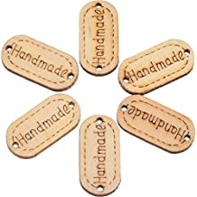 Blulu 200 Pack Handmade Tag Label Wooden Buttons Oval Wood Handmade Tags Button with 2 Holes for Crafts Sewing Clothing Decoration, Included Velvet Storage Bag