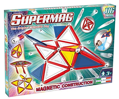 Supermag 3D Magnetic Tiles are New Advanced Magnetic Building Blocks for Kids in Vibrant Colors Compatible with All Rod and Ball Magnetic Sets 116 Piece Set from Supermag