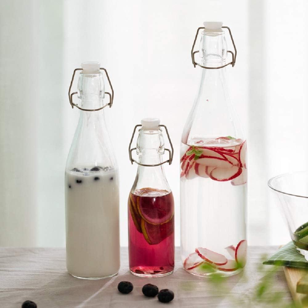 Heyaokun 3 Botellas de Vidrio con Tapa abatible con Tapa abatible Transparente con Clip de Color Superior Botella de Mantenimiento Fresco, Botella hermética de Especias (500ml)