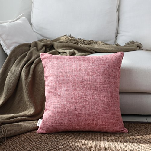 Kevin Textile Decor Lined Linen Euro Throw Pillow Cover Sham for Patio/Living Room, 26 x 26 inch, Baby Pink ()