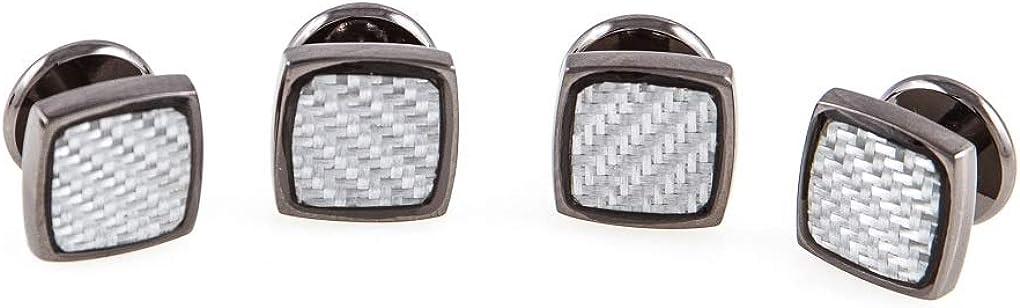 MRCUFF Gunmetal Carbon Fiber Grey Set Tuxedo Cufflinks /& Studs in Presentation Gift Box /& Polishing Cloth