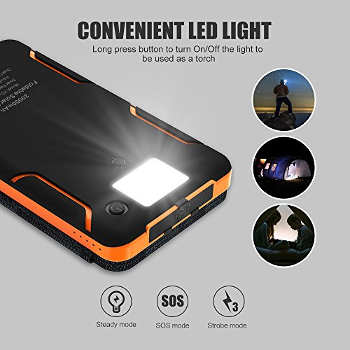 X-DRAGON Solar Charger, 20000mAh Solar Power Bank with 4 Solar Panels, Dual USB, LED Flashlight Waterproof Portable External Battery Backup for iPhone, Cell Phones, ipad and More-Orange by X-DRAGON (Image #3)