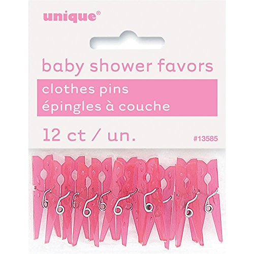 (Mini Plastic Pink Clothespin Girl Baby Shower Favor Charms, 12ct)