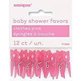 Mini Plastic Pink Clothespin Baby Shower Favor Charms, 12ct