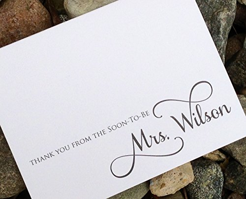 Bridal Shower Soon to be Mrs. Thank You Cards, Personalized Stationery/Stationary - Set of 12 Folded Notes with Envelopes by Soiree Custom Paper Co