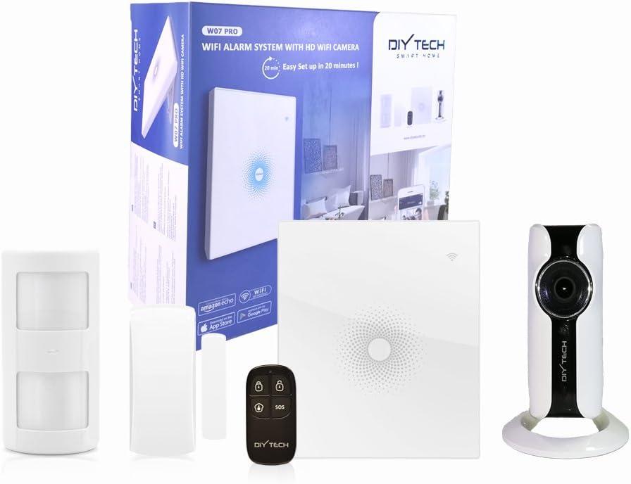 DIYTECH Kit Alarma WiFi con cámara HD WiFi, sensor de PIR, contacto puerta/ventana, mando, Inhibidor de Frecuencia integrado. Compatible con CHUANGO, App gratuita. Soporte en Español.