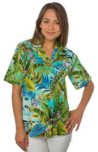 Bennys Womens Floral Caladium and Palm Hawaiian Shirt