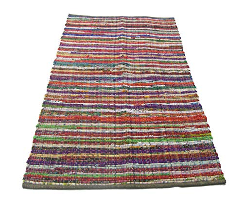 Eco friendly 100% recycled cotton colorful chindi area rug - 3'X5'