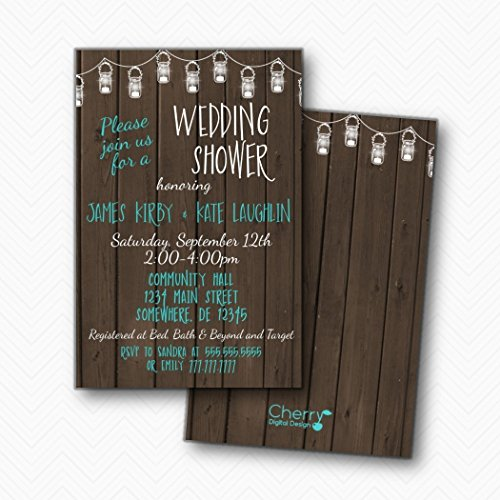 Rustic Wood Mason Jar Wedding Shower Invitations | Envelopes Included (Aqua And Brown Wedding Invitations)