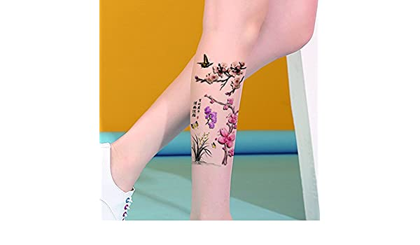 TAFLY orquídea y mariposa Sexy 3d impermeable tatuajes falsos ...