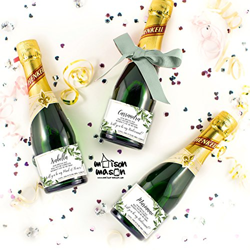 CUSTOM - Will you be my Maid of Honor, Will you Be My Bridesmaid Mini Champagne or Mini Wine Labels, Olive Branch Champagne Labels, SET OF 10 3