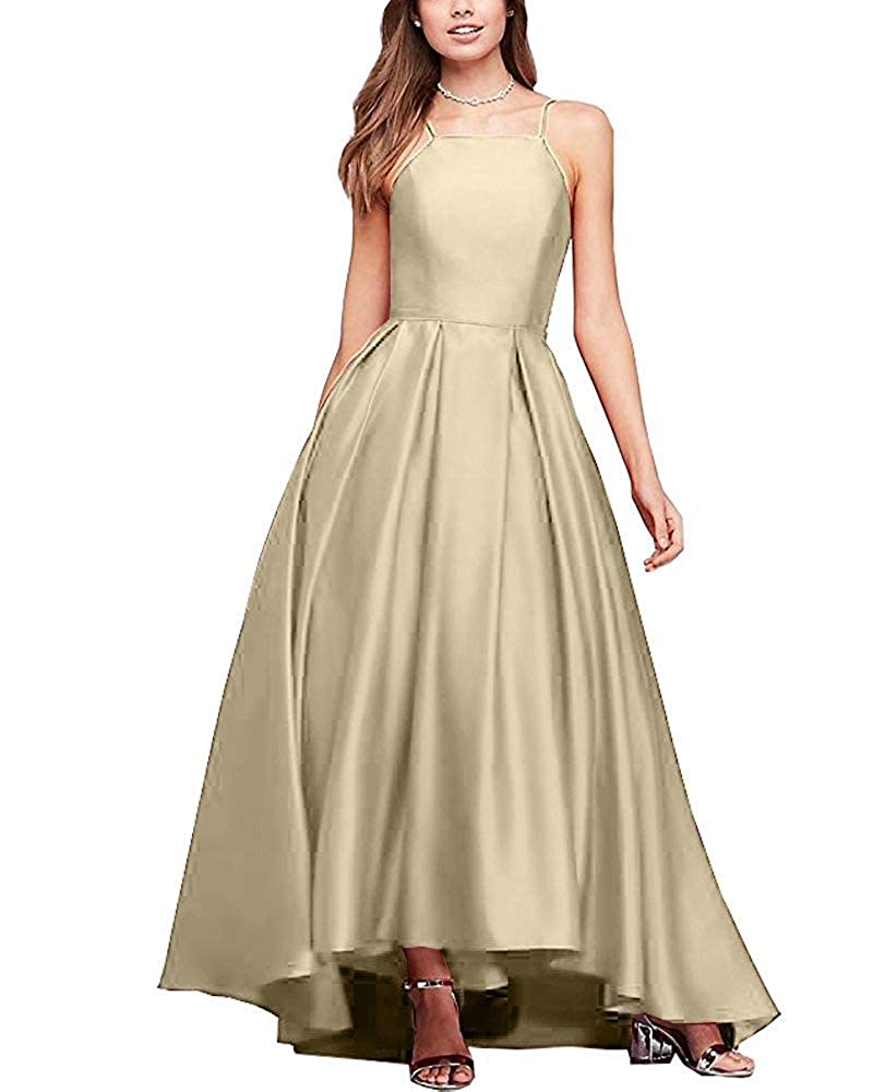 Champagne Gorgeous High Neck Satin Ball Gown Bridesmaid Dresses Prom Gown Maxi Skirt