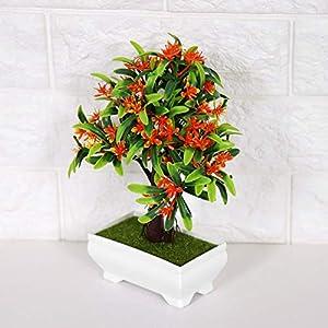 GLOGLOW Artificial Bonsai Flower Pot Fake Silk Flower Tree Plant for Wedding Holiday Home Decor 5