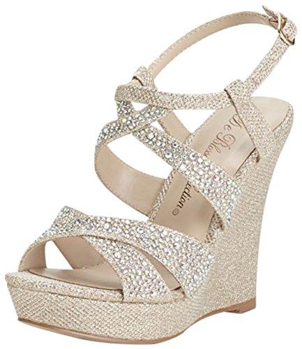 Bridal High Heels - David's Bridal High Heel Wedge Sandal with Crystal Embellishment Style BALLE8, Nude Metallic, 9