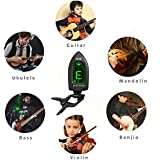 Guitar Ukulele Tuner Clip on for Bass Violin Instrument Chromatic Tuning, 360 Degree Rotating Battery Included, Auto Power Off (Black)