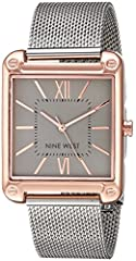 Create a look that's both polished and refined with the silvertone mesh strap and polished rose goldtone case of this Nine West watch.
