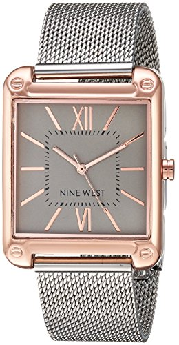Nine West Women's  Rose Gold-Tone and Silver-Tone Mesh Bracelet Watch from NINE WEST