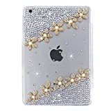 iPad Mini 4 Case Set, Handcraft Bling Glitter Clear Hard Bumper Case Back Skin Protective Cover Bonus Premium Tri-fold Magnetic Leathe Stand Smart Front Cover for iPad Mini 4, Gold Floral - White