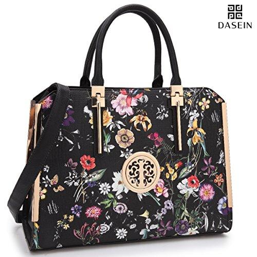 Dasein Women's Designer Leather Tote Satchel Top Handle Shoulder Bag