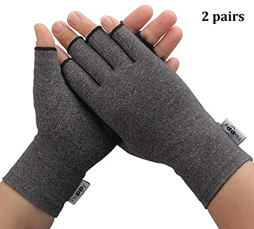 2 Pairs Compression Gloves Arthritis Gloves, Fingerless Hand Gloves for Women Rheumatoid & Osteoarthritis - Joint Pain and Carpel Tunnel Relief-Men (Gray, Large-2 Pairs)