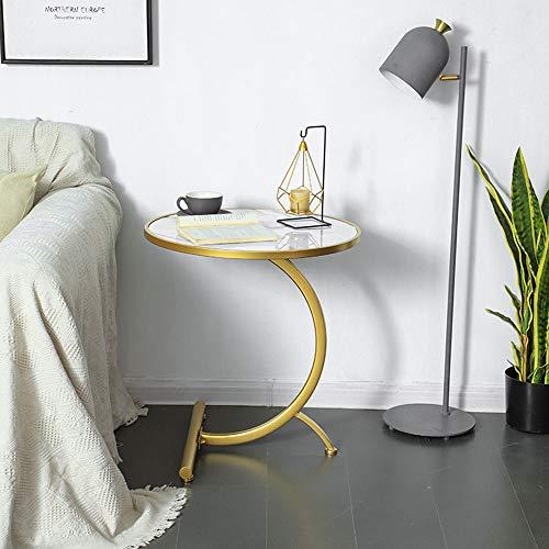 Mesa lateral de metal, marmol redonda de hierro forjado Mesa auxiliar, Adopta marco metalico, Oficina salon y dormitorio,Blanco